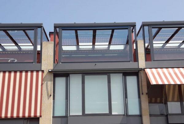 Instalación techo movil/fijo de cristal