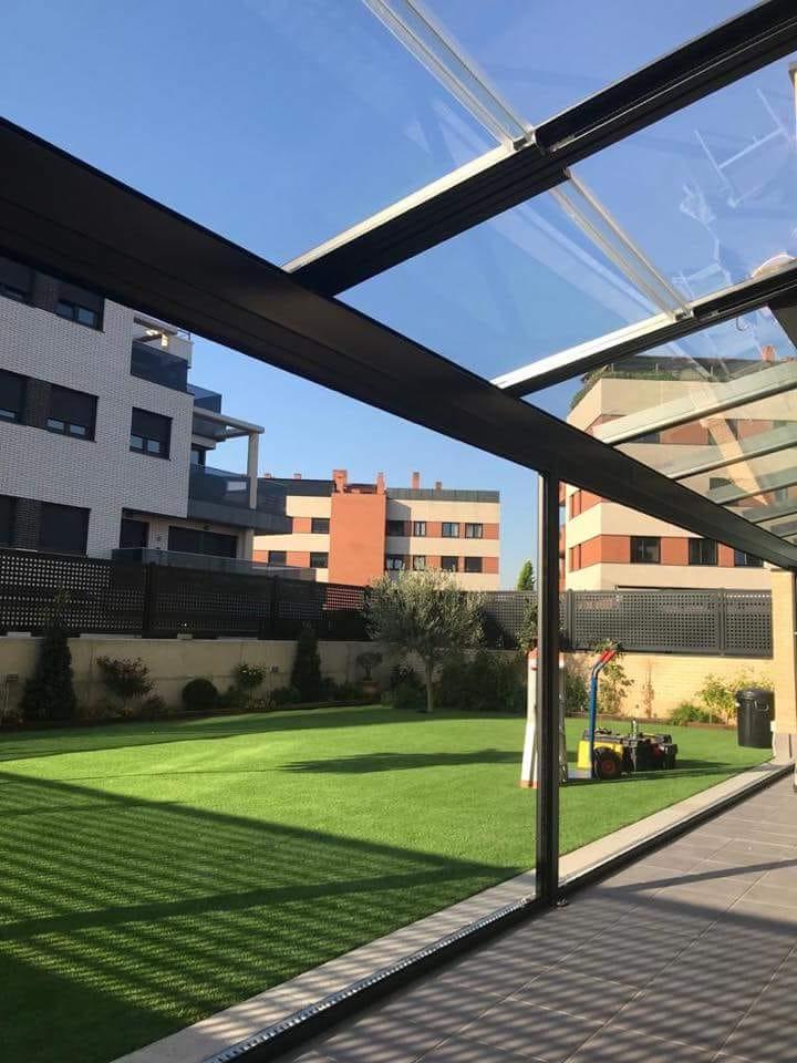 Combinado techo movil y techo fijo de cristal